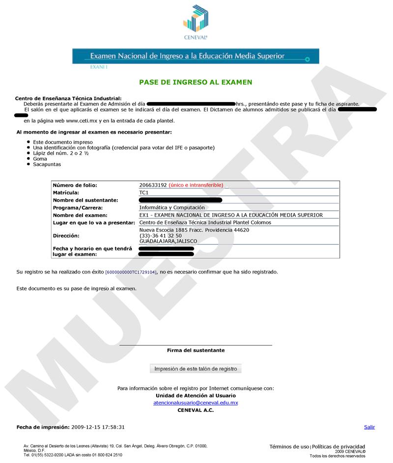 ... de admisión - Paso 6 de 6: Impresión del pase de ingreso al examen